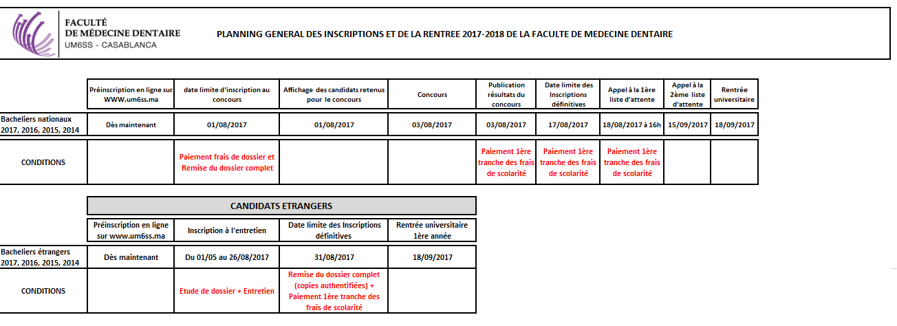 Calendrier Inscriptions FMD