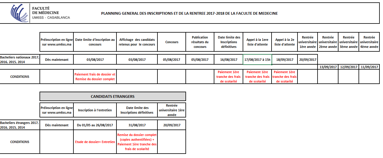 Calendrier Inscriptions FM